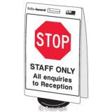 'STOP Staff Only...' Double Sided Info-Board - 600 x 450 mm