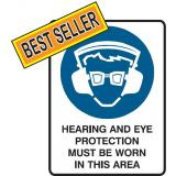 Mandatory Sign - Hearing And Eye Protection Must Be Worn In This Area