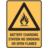 Warning Signs - Battery Charging Station No Smoking Or Open Flames