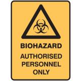 Medical Biohazard Signs - Biohazard Authorised Personnel Only