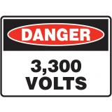 Mining Site Sign - 3,300 Volts