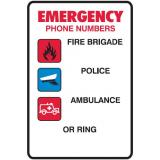 Emergency Signs - Emergency Phone Numbers