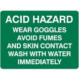 Emergency Signs - Acid Hazard Wear Goggles Avoid Fumes ...