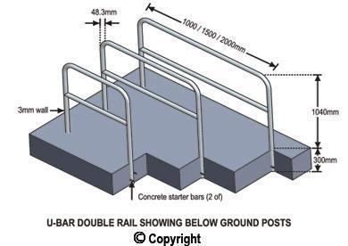 2 meter wide double rail u bars p coat. Black Bedroom Furniture Sets. Home Design Ideas